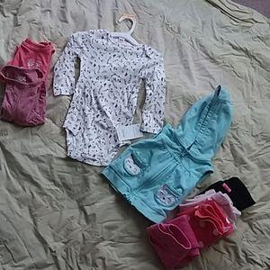 BABY GIRL BUNDLE 9-12 mo 8 peice pants hoodie tops